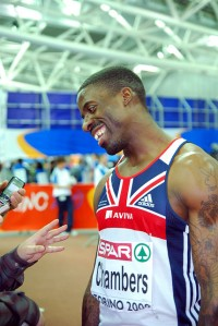 Dwain Chambers doing interview.